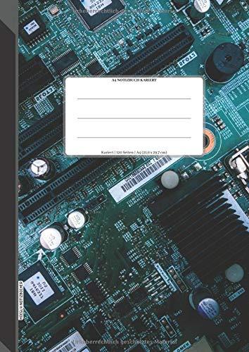 A4 Notizbuch Kariert: 120 Seiten, 21,0 x 29,7 cm (Größe A4), Seiten nummeriert, Muster-Motherboard, Soft Matte Cover