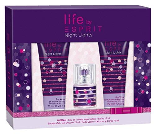 Esprit Night Lights Damen Geschenkset, EDT 15 ml + Duschgel 75 ml + Body Lotion 75 ml, 165 ml