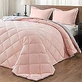 downluxe Lightweight Solid Comforter Set (Queen) with 2 Pillow Shams - 3-Piece Set - Pink and Grey - Down Alternative Reversible Comforter