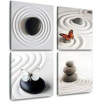 XXL 4er lienzo mariposa Zen en piedra en la arena de 30 x 30 cm (tamaño total: 60 x 60 cm)