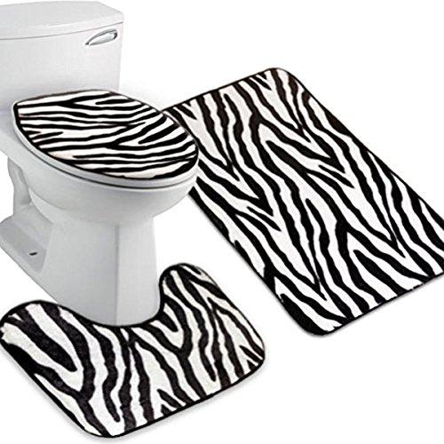 WINOMO Tapis de Bains Set 3 Salle de Bains Tapis Couvercle WC Couvre Tapis de Bain Zebra Flannel(Zebra-stripe)