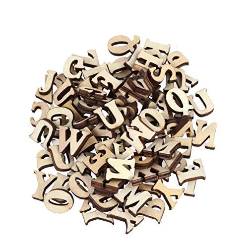 Healifty 50 piezas de letras mayúsculas del alfabeto de madera sin terminar para pintar enseñanza diy artesanía decoración del hogar