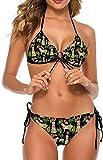 Conjunto de Bikini Halter Ajustable Sexy a la Moda para Mujer, Trajes de baño de Dos Piezas, Perro de Playa, piña Labrador Amarilla, XL