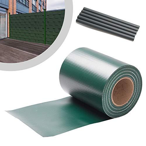 Einfeben PVC Sichtschutzstreifen Rolle Doppelstabmatten Zaun 70m x 19cm, mit 60 Befestigungsclips, Beidseitiger Druck,Windschutz und Blickdicht, für Zaun, Balkon, Gartenzaun, Grün