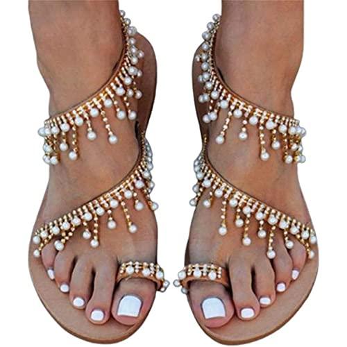 CHLDDHC Damen Sandalen Weibliche Riemchen Flache Sandalen 2021 Summer Beach Schuhe Vintage Jeweled Perlen Clip Zehenring Flip Flops Gladiator Flache Sandalen