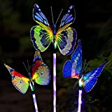 Quace Solar Garden Lights, Solar Stake Light Multi Color Changing Lights, Fiber Optic Butterfly Solar Light LED, Yard Decoration Lights Outdoor with a Purple LED Light Stake, 3 Pack (Butterfly)