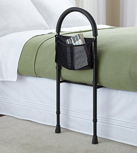 Safety bed rail mobility aid adjustable in height with useful storage pocket