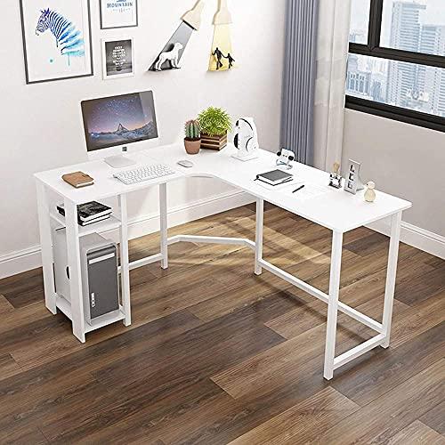Escritorio esquinero de ordenador en forma de L con estantes de almacenamiento, estación de trabajo de madera de metal para oficina en casa, ahorro de espacio Escritura de estudio C-B