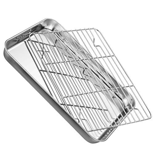 HEMOTON Stainless Steel Baking Sheet with Rack Set Toaster Oven Pan Easy Clean Dishwasher Safe 26. 5X20. 5CM