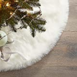 Simvey 30' Christmas Tree Skirt White Luxury Plush Faux Fur Tree Skirt for Santa Ornaments Snowman Reindeer Decoration (30')