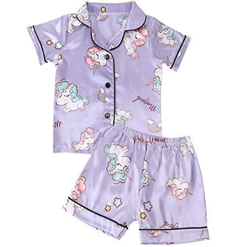 vamei Baby Pyjama Schlafanzug für Baby Mädchen Jungen Schlafanzug Sommer Satin Seiden Zweiteilige Schlafanzüge für Baby Nachtwäsche Kurzarm Pyjama (violett, 120)