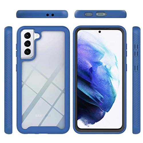 Funda para Samsung Galaxy S21 FE, 360 Full Body Protection Cover a prueba de golpes Anti-Scratch Transparente Silicona Suave TPU Goma Bumper Rugged Phone Case para Samsung Galaxy S21 FE Azul