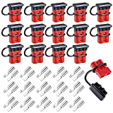 Vankcp 15 Sets Gauge Battery Quick Connector 50A 12-36V Battery Quick Connect/Disconnect Wire Harness Plug Kit Battery Quick Connector Disconnect Plug for Motor Recovery Winch Trailer(Red)