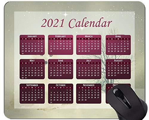 2021 Kalender Mauspad mit Feiertagen, Wildlife Winter Snow Mouse Pads