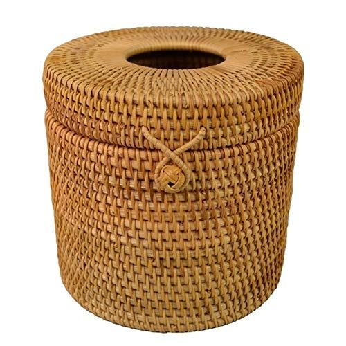 NLJYSH Caja del Tejido de Mimbre Redonda portarrollos de ratán Soporte del Papel higiénico (Color : Light Brown)
