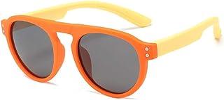 Gosunfly - Gafas de sol deportivas infantiles polarizadas contra el viento-Montura naranja patas amarillas_Luz polarizada / TAC