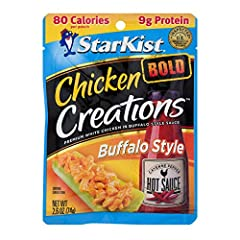 DELICIOUS FLAVOR: StarKist Chicken Creations BOLD Buffalo Style has the fiery, vinegary kick you expect from your favorite buffalo sauce. It's a lot like buffalo wings, only better, because you can take this spicy deliciousness anywhere. GOOD SOURCE ...