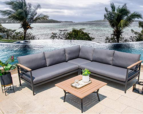 Glitzhome Patio Furniture Sets 4 Piece Outdoor Aluminum Sectional Sofa Conversation Set with Cushions (Style 4)