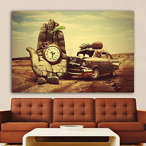 Fymm2shop muurschildering, motief: Salvador Dali hand, klok, auto, anananas, papegaai, druk, muurkunst voor de woonkamer 50X70CM