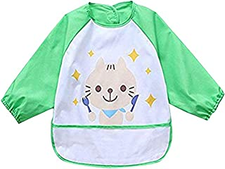 Waterproof Bib with Sleeves&Pocket, Unisex Kids Childs Arts Craft Painting Apron 6-36 Months, Green