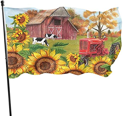 Fall Harvest Autumn Farmhouse Rustic Country Sunflower Tractor Cow Themed Welcome Home House Garden Yard Decor 3 X 5 Ft Jumbo Large Huge Flag Party Outdoor Outside Decorations Ornament Picks