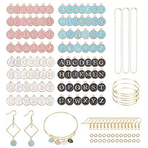 PandaHall Kit de creación de dijes de letras mixtas de 4 colores, con esmalte de metal de doble cara, colgante inicial A-Z, dije del alfabeto para pendientes, collares, pulseras y joyas