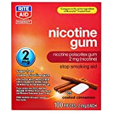 Rite Aid Nicotine Gum, Coated Cinnamon Flavor, 2 mg - 100 Count | Quit Smoking Aid | Nicotine Replacement Gum