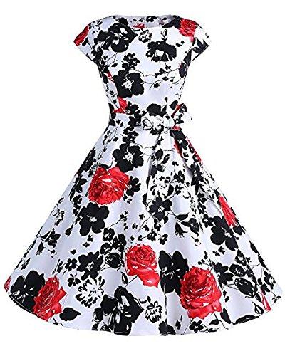 Kidsform Damen Weinlese-Kleid 1950 Classy Retro Blumenpartei-Kleid Mit Schleife L rote blume