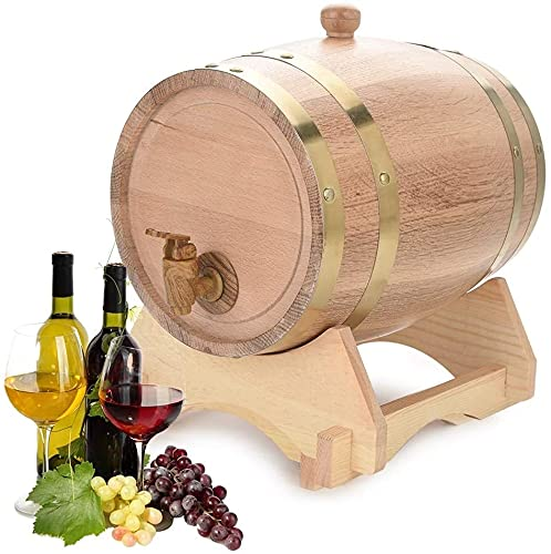 WSVULLD Dispensador de licor Barriles de vino Retro Barril de madera Roble Dispensador de vino de madera Rack de almacenamiento Whisky Wine Vinagre Cerveza Dispensador de agua de madera (capacidad: 10
