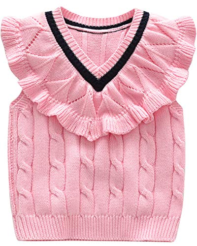 Shengwan Mädchen Strickweste Kinder Gestrickte Weste V-Ausschnitt Ärmellose Strickpullover Oberteile Pink 100cm