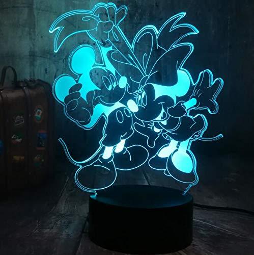 Mehrere Farben Romantische tanzende Tiermaus lieben 3D-Illusion LED-Nachtlicht...