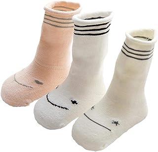 Da.Wa, Da.Wa 3 Pares Calcetines Gruesos para Bebés Calcetines Largos de Algodón Suela Antideslizantes para Niños Recién Nacidos Invierno Cálidos Suaves y Cómodos (Patrón XS 0-6 meses)