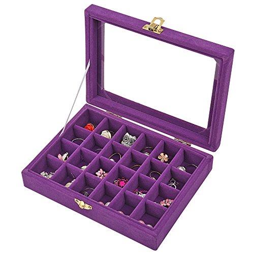 LANTWOO - Caja organizadora de Pendientes de Cristal de Terciopelo con 24 Rejillas