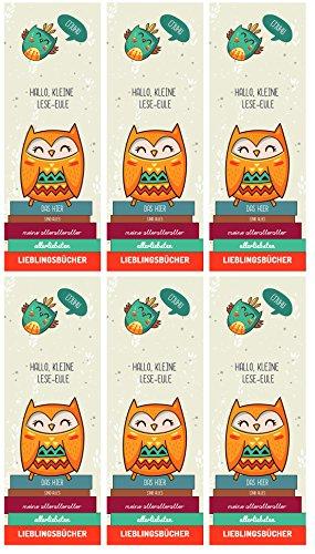 dabelino 6er Set Eulen-Lesezeichen für Kinder (Mitgebsel, Kindergeburtstag, Gastgeschenk,Mädchen, Jungen)