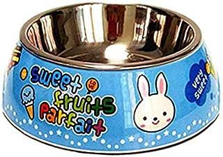 Pet Water Dispenser Cartoon Rabbit Stainless Steel Dog Bowl Anti-Skid Pet Bowl (Blue M) Cat Travel Drink Bottle