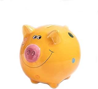 VANVENE Lovely Pig Piggy Bank for Boy and Girls, Coin Bank Money Bank Best Birthday Gift, for Kids Home Nursery Décor Keepsake, Favorite Unique Baby Gift Idea, Small Size (Orange)