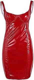 red wet look dress