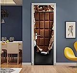 Kreative 3D Türen Pralinen Tür Aufkleber Poster Selbstklebende DIY Dekorative Wasserdichte Wandtattoo Wandbilder Tapete auf Tür