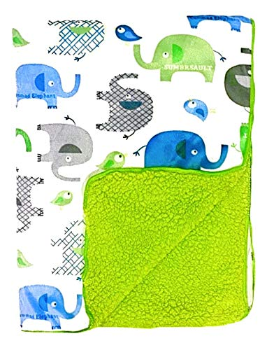 Meloplanet Baby Blanket Super Soft Minky with Double Layer Backing, Green Elephant Printed 30 x 40 Inch, Receiving Blankets Toddler, Infant or Newborn for Crib, Stroller, Travel, Decorative