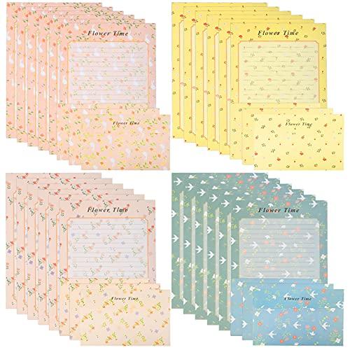HAKOTOM 48 piezas de papel de escritura con 24 sobres, juego de papel estacionario de cartas, lindo kawaii floral escritura carta sobre papel de escritura para invitaciones regalos niños adultos
