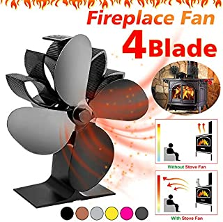 Gizayen Heat Powered Stove Fan 4 Blades Fireplace Silent Portable Heat Powered Stove Fan for Wood Log Burner Fireplace