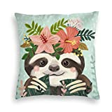 MINIOZE Green Sloth Flowers Cute Animals Spring Print Velvet Soft Square Pillow Covers Home Decor Cushion Covers Decorations Gifts Pillowcase for Indoor Sofa Bedroom Car 18 x 18 Inch