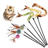 Giochi con Piume per Gatto, Cat Giocattolo Interattivo, gatto giocattolo con Punta con Piume e Campanella, Divertente Bacchetta per Gatto(6 Pezzi)