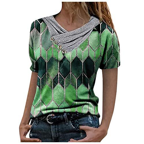 VEMOW Camisas Mujer Nuevo Blusas para Mujer Sexy Tops Camisetas Camisa Manga Larga, 2021 Novísimo Elegantes Estampado Suelta Sudadera Tapas Geométrico Botón Cuello en V Baratas Tapas(D Verde,M)