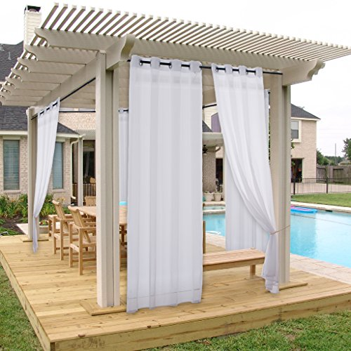 NICETOWN Pergola Outdoor Curtain Panel - Light Filtering Water Proof Resistant Sheer Voile Curtain with Silver Grommet Top (1 Pack with Rope Tieback, 54 Inch Wide by 108 Inch Long, White)