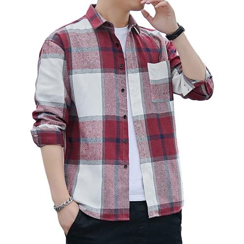 Camisas Informales para Hombre, Moda a Cuadros, clásico, con Botones, Suelto, cómodo, Primavera y otoño, Camisa de Manga Larga de Gran tamaño M