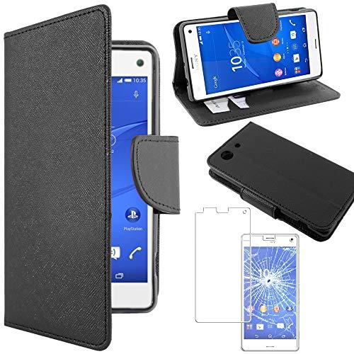 ebestStar - Cover Compatibile con Sony Xperia Z3 Compact Custodia Portafoglio Pelle PU Protezione Libro Flip, Nero + Pellicola Vetro Temperato [Apparecchio: 127.3 x 64.9 x 8.6mm, 4.6'']
