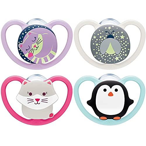 NUK Space chupetes para bebés noche y día | 18-36 meses | Chupetes que brillan en la oscuridad con ventilación adicional | Silicona sin BPA | Rosa | 4 unidades