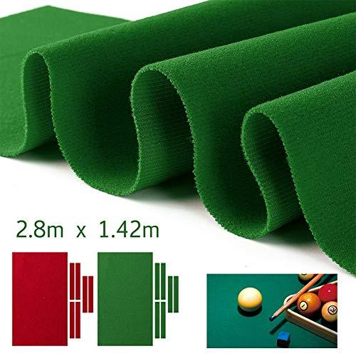 Billardtisch Filz Pooltuch Snooker Indoor Sport Spiel Tischdecke mit Kissen Tuch Streifen für 9 Fuß Pool Tisch, grün, 2,8 m