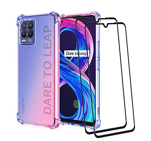 GOKEN Funda para Realme 8 Pro/Realme 8 4G (6.4') y 2 Piezas Cristal Templado, TPU Silicona Gradiente Transparente Protección Carcasa, Bumper Caso Case Cover con Shock- Absorción, Azul/Pink